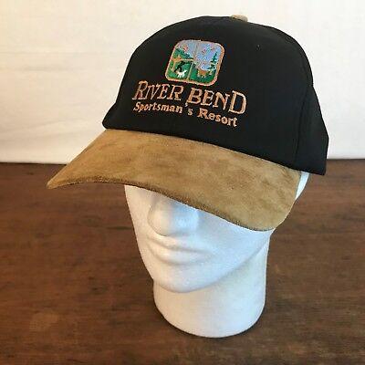 River Bend Sportsmans Resort Black Cotton Suede Bill Cap Hat CH10 Cotton Suede Cap