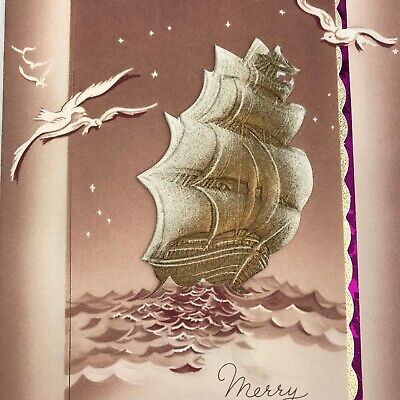Vintage Early Mid Century Christmas Greeting Card Brown Sailboat 3D Embossed