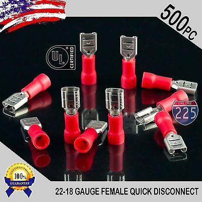 500 Pack 22-18 Gauge Female Quick Disconnect Red Vinyl Crimp Terminals .187 Us