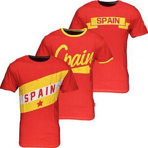 New-Mens-Spain-World-Cup-Football-T-Shirt-Summer-Soccer-Jersey-Top-Burnt-Red