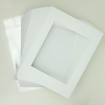 "25 11""x14"" White Picture Mat Set White Core Bevel 8""x10"" Photos Backers & Bags"