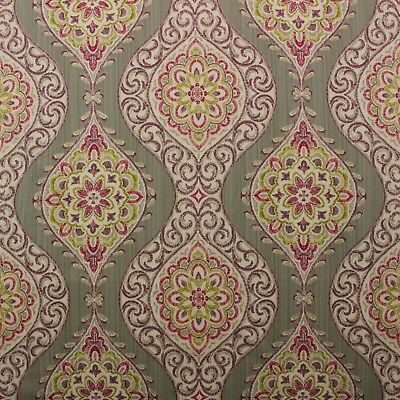 WAVERLY MOONLIT MEDALLION PASSION PINK FLORAL DAMASK MULTIUSE FABRIC BTY 54