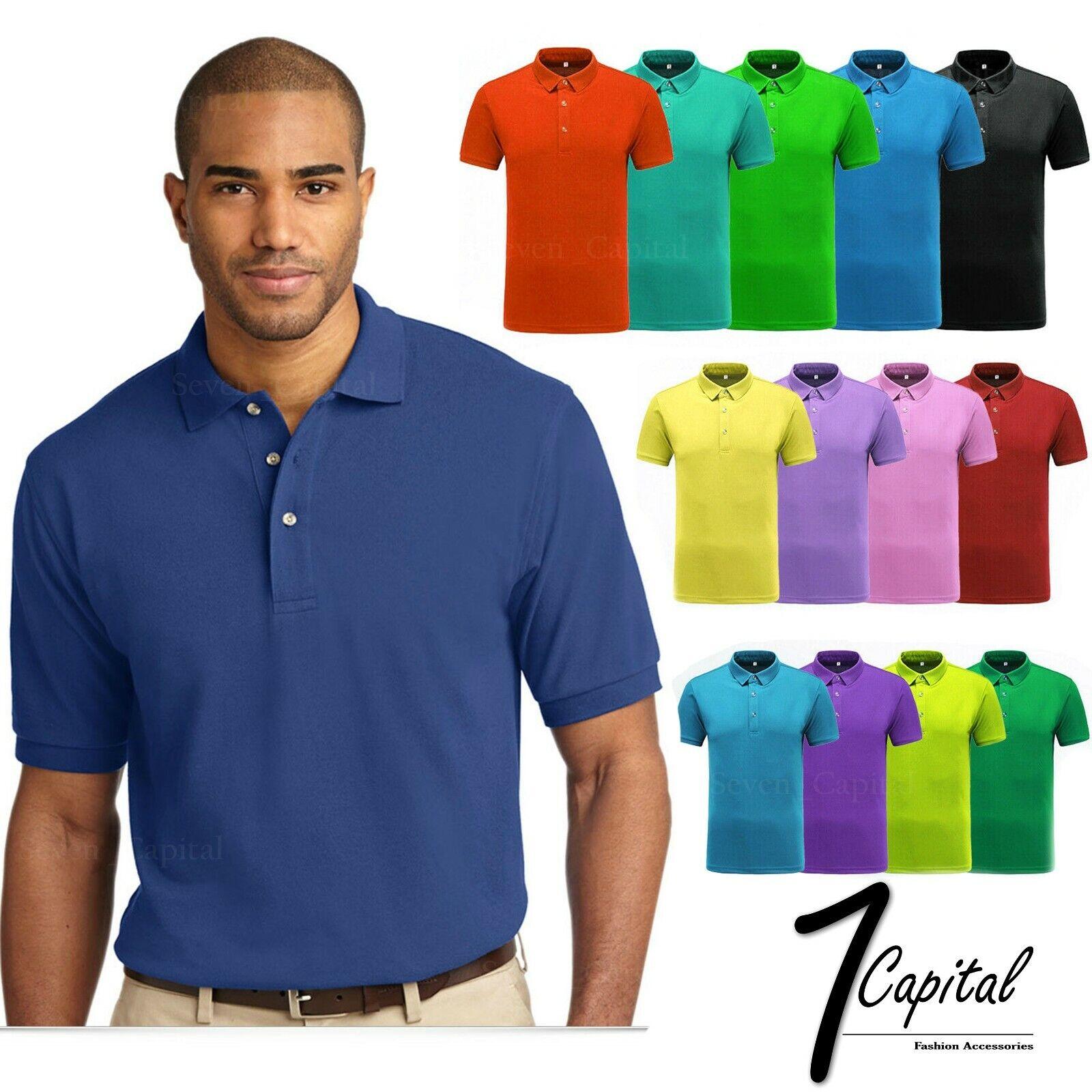 Men's Polo Shirt Dri-Fit Golf Sports Cotton T Shirt Jersey C