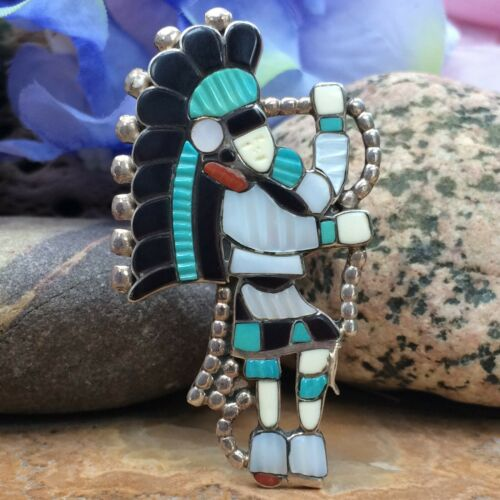 WESTERN ZUNI KACHINA DANCER CARVED TURQUOISE CORAL MOP STERLING RING SZ 7.5