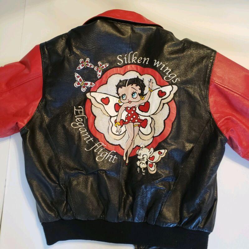 VTG AmericanTunes Betty Boop Silken Wings Men L Leather Bomber Jacket Flight EUC