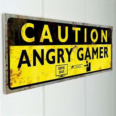 CAUTION ANGRY GAMER | Funny Door Sign | Vintage Plaque | Gift | Joke