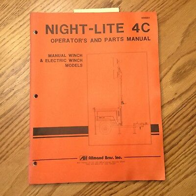 Allmand Night-lite 4c Light Tower Operators Maintenance Manual Parts Book Genset