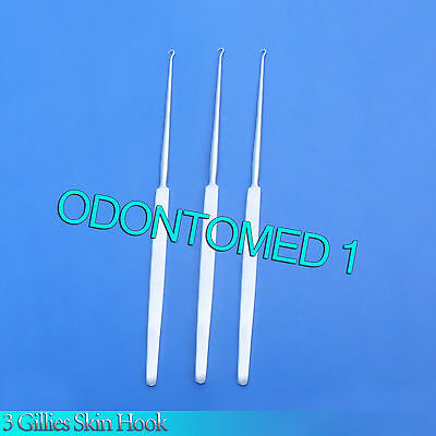 3 Gillies Skin Hook 6 Surgical Instruments