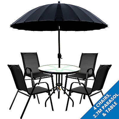 Garden Outdoor Furniture Set Round Glass Table Black Parasol Grey Chair Seat