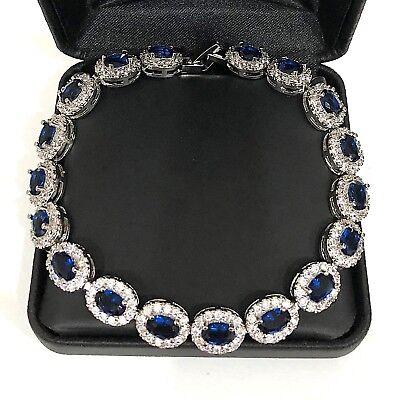 28.74 Ct Blue Sapphire Round Diamond Halo Bracelet 14K White Gold Plated Jewelry ()