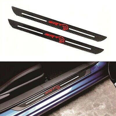 2Pcs SRT Carbon Fiber Car Door Welcome Plate Sill Scuff Cover Sticker For Dodge