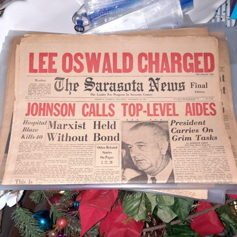 Vintage The Sarasota News LEE OSWALD CHARGED..NOVEMBER 23, 1963 ORIGINAL