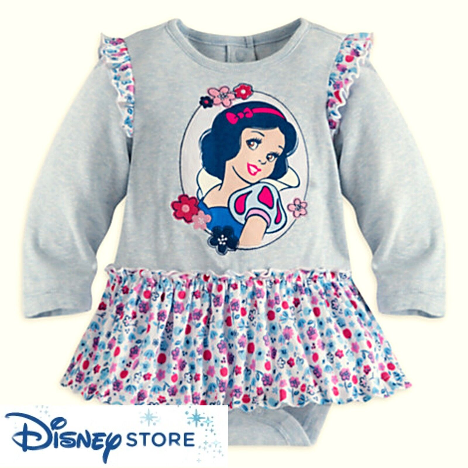 Disney Store Snow White Long Sleeve Bodysuit Attached Skirt 18 24 M