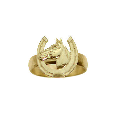 Horse Shoe Good Luck Ring Real Genuine 10K Yellow Gold Jewelry New Pick Size 10k Good Luck Ring