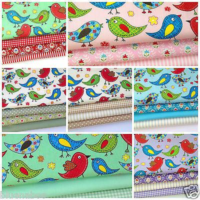 TWEET TWEET wonderful bird fat quarter bundles 5 colours 100% cotton fabric