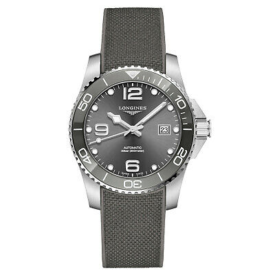 Longines Hydroconquest Ceramic Bezel 41mm Grey Steel Rubber Watch L37814769 New