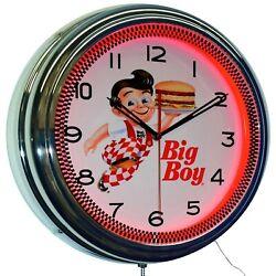 Bob's Big Boy Diner 16 Red Neon Advertising Wall Clock Home Restaurant Decor