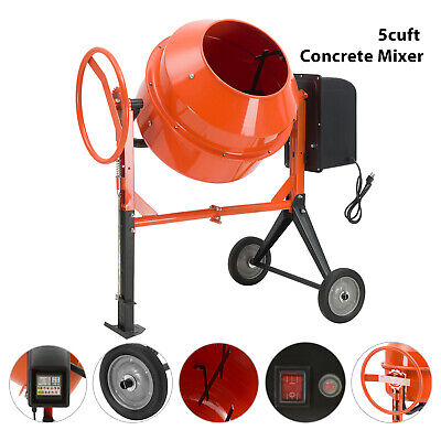 Portable 5cuft 45hp Electric Concrete Cement Mixer Barrow Machine Mixing Mortar