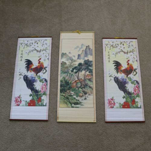 Set of 3 Oriental Chinese Asian Print Painting Scroll Art Wall Decoration
