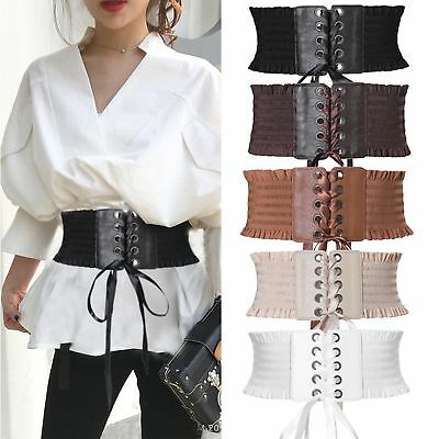 Women Ladies Soft PU Leather Wrap Around Tie Corset Cinch Waist Wide Dress (Leather Waist Cinch Belt)