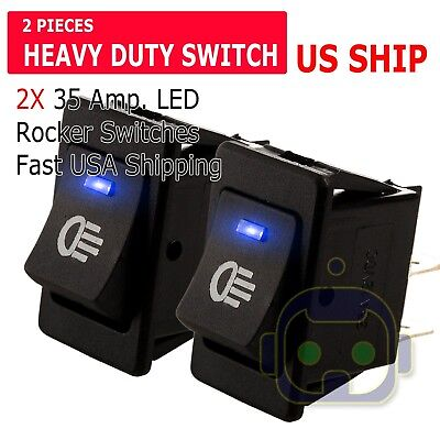 2pcs 12v 35amp Heavy Duty Toggle Flick Switch Onoff Car Dash Light Metal Spst