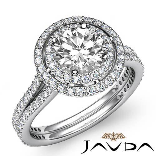 3.05ct Round Diamond Engagement Split Shank Ring GIA F Color VS2 14k White Gold