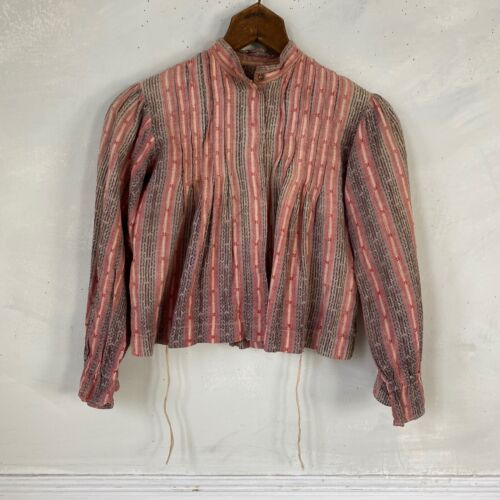 Antique French Striped bodice Cotton victorian blouse 1890s bodice Red and Navy