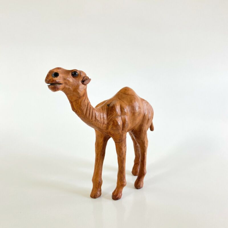 Vintage Egyptian Wooden Camel Carving - Leather Ears, Wooden Body - Hand Carved