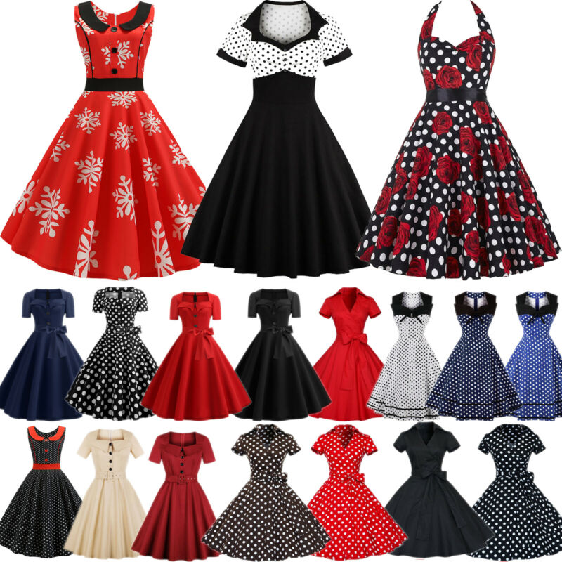 Damen 50er Rockabilly Kleid Hepburn Petticoat Vintage Freizeit Party Skaterkleid