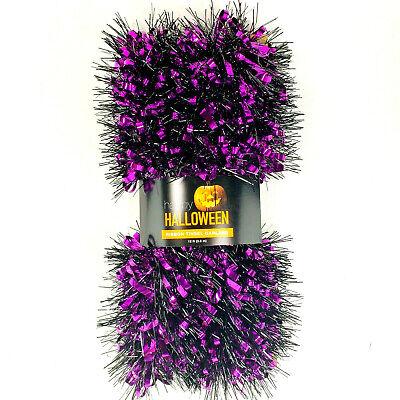 Halloween Tinsel Garland Black and Purple Garland 12 ft