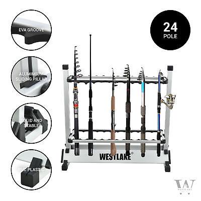 24 Rod Fishing Pole Holder Aluminum Alloy Stand Rack Storage Portable Tool US
