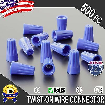 (500) Blue Twist-On Wire GARD Connector Conical nuts 22-14 Gauge Barrel Screw US