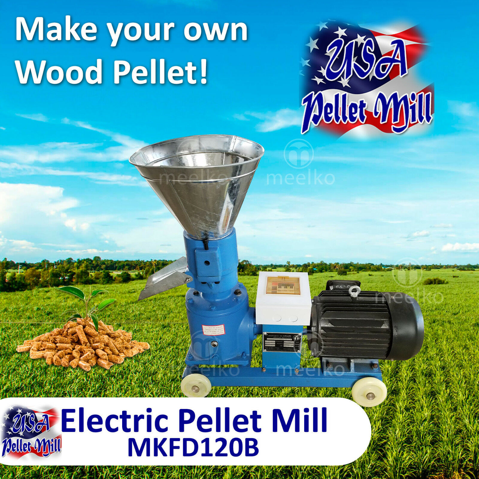 Photo Electric Pellet Mill For Wood - MKFD120B - USA