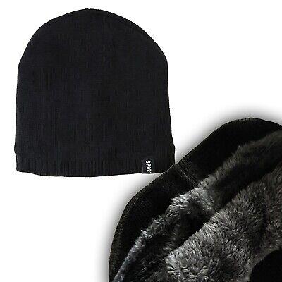 c5f3d5e288c SPORT Fleece ACRYLIC BEANIE HAT WITH FUR Warm WORKOUT Winter GYM Boxing  BLACK