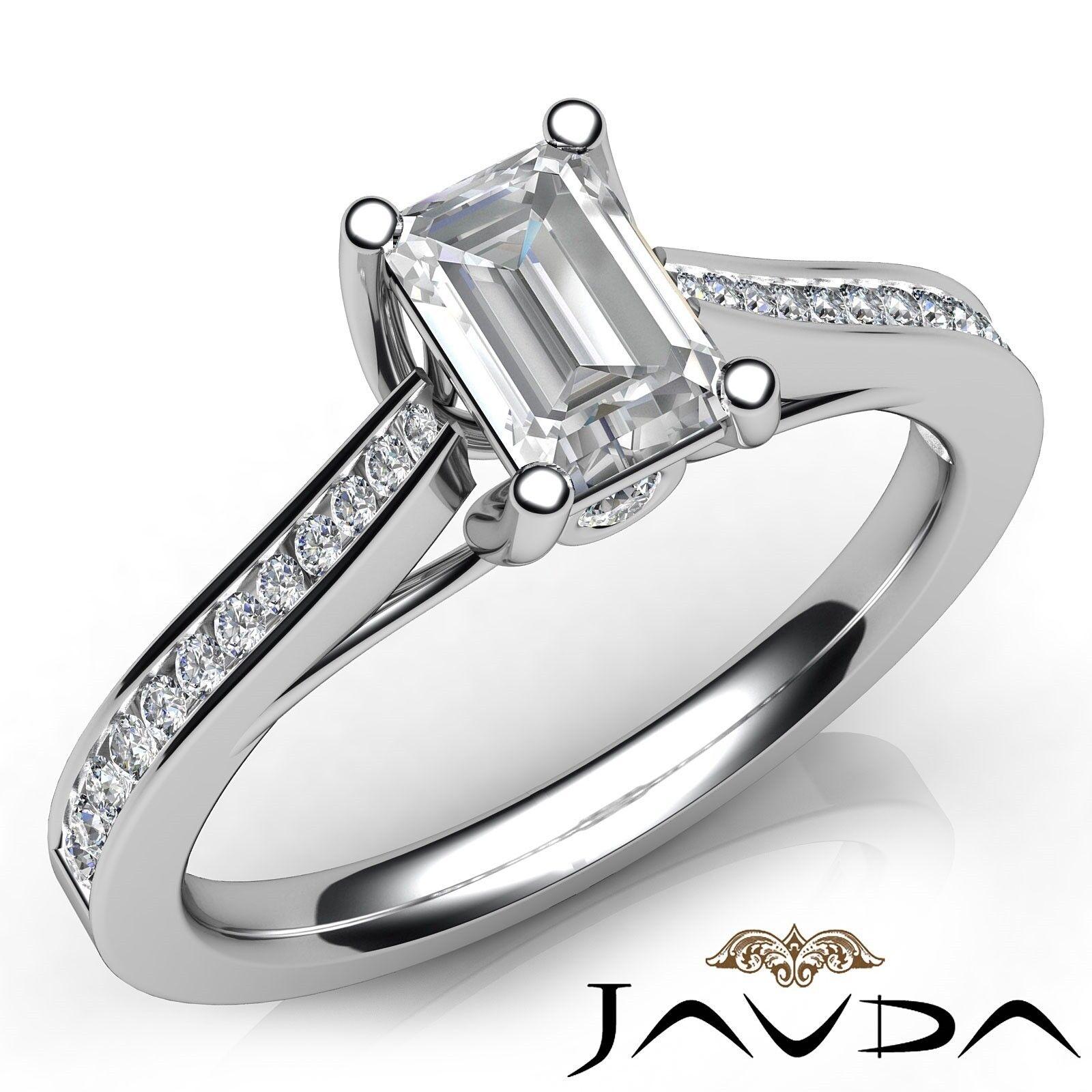 1.32ctw Channel Set Shank Emerald Diamond Engagement Ring GIA F-VVS2 White Gold