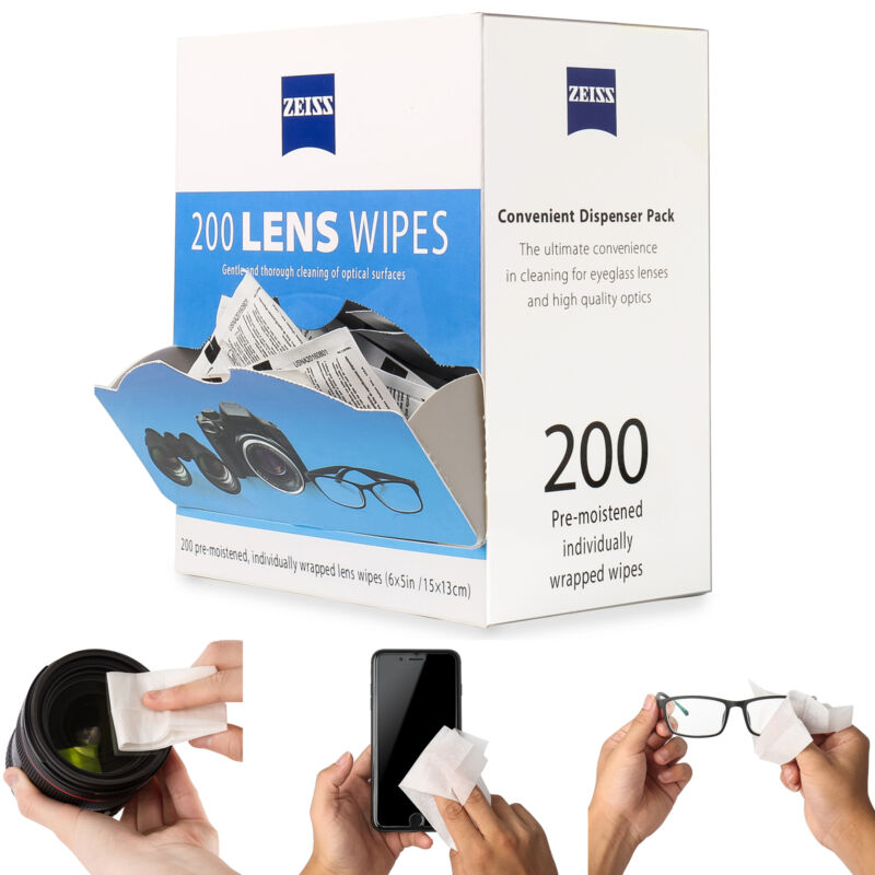 ZEISS Lens Cleaning 200 Wipes Eye Glasses Computer Optical Lense Cleaner