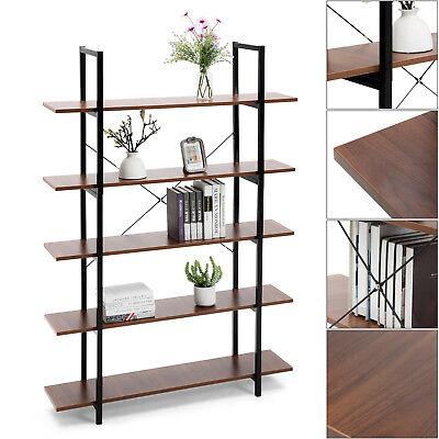 5 Tier Ladder - 5 Tier Wood Bookcase Wall Shelf Ladder Bookshelf Storage Display Rack Furniture