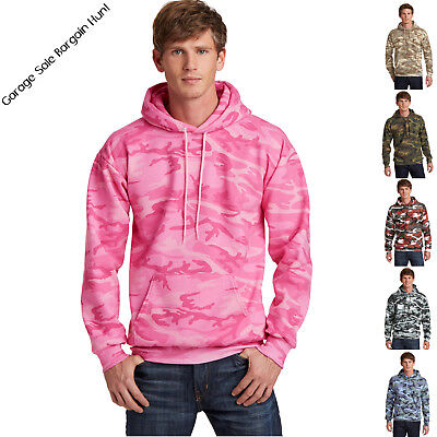 Mens Camo Camouflage Hoodie Pullover Hooded Sweatshirt Port & Company S-4XL  Camo Hooded Pullover