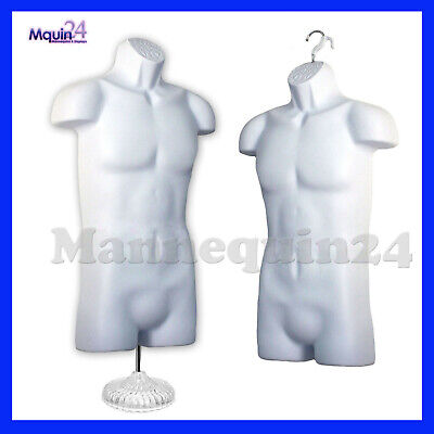 2 Male Mannequin Torso Pack 1 Stand 2 Hangers - White Mens Dress Form