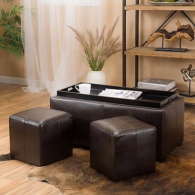 Contemporary Brown 3-piece Leather Tray Top Nested Storage Ottoman Bench