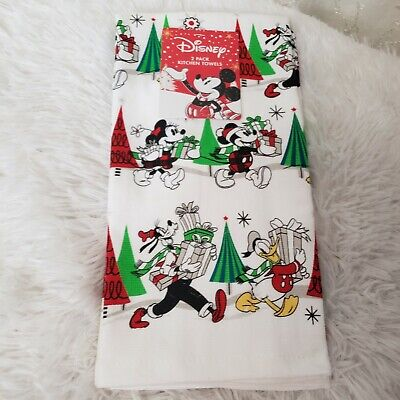DISNEY Mickey & Friends Holiday Kitchen Towels 2 Pack NEW