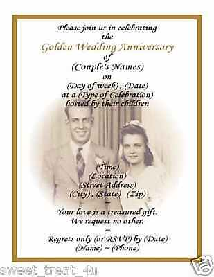 (60) 50th GOLDEN WEDDING ANNIVERSARY PHOTO INVITATIONS Golden Wedding Anniversary Invitations