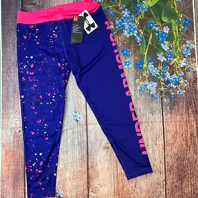 NWT Under Armour Girls XL Purple Pink Capri Leggings Splatter Yoga Dance