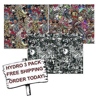 Hydro Dip Hydrographic Film Water Transfer Printing Film Graffiti Skulls 3 Pack