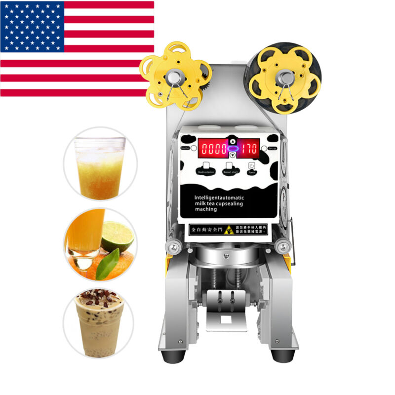 US Commercial 450W Automatic Electric Tea Milk Cup Sealer Sealing Machine