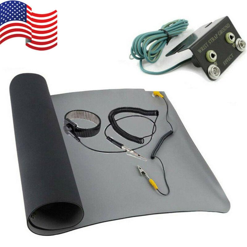 Black Desktop Anti Static ESD Grounding Mat + Wrist Strap + Ground + Coiled Cord