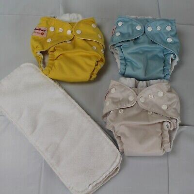Fuzzibunz Lot 3 Cloth Reusable Baby Diapers Adjustable with 6 Inserts Small