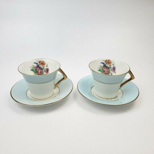 COLCLOUGH Bone China BLUE Floral Demitasse Tea Cup & Saucer Set of 2 England