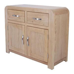 Oak Sideboard Medium Solid Light Natural Oak Storage Retro Curved Assemble New