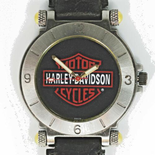 Harley Davidson Vintage Bulova Unworn Gun Metal Black Dress Ulta-Thin Watch $139
